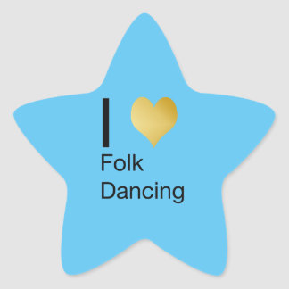 Playfully Elegant I Heart Folk Dancing Star Sticker