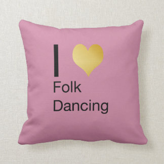 Playfully Elegant I Heart Folk Dancing Throw Pillow
