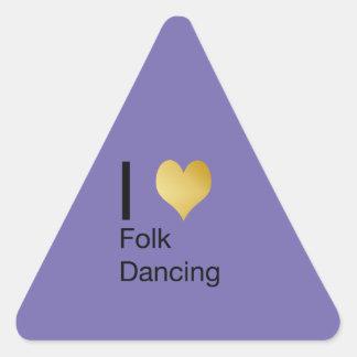 Playfully Elegant I Heart Folk Dancing Triangle Sticker