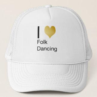 Playfully Elegant I Heart Folk Dancing Trucker Hat