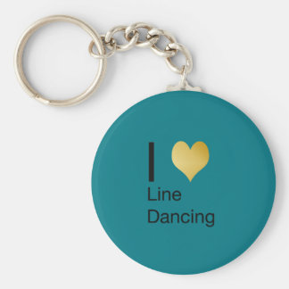 Playfully Elegant I Heart Line Dancing Basic Round Button Keychain