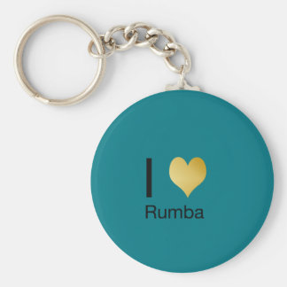 Playfully Elegant I Heart Rumba Basic Round Button Keychain