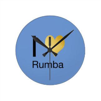 Playfully Elegant I Heart Rumba Round Clock