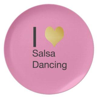 Playfully Elegant I Heart Salsa Dancing Dinner Plates