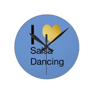 Playfully Elegant I Heart Salsa Dancing Round Clock