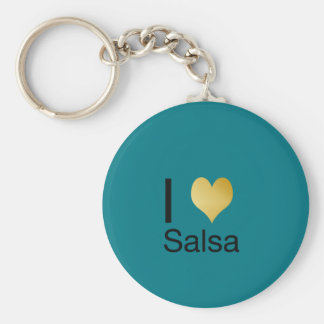 Playfully Elegant I Heart Salsa Keychain