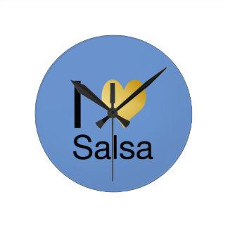 Playfully Elegant I Heart Salsa Round Clock