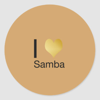 Playfully Elegant I Heart Samba Classic Round Sticker