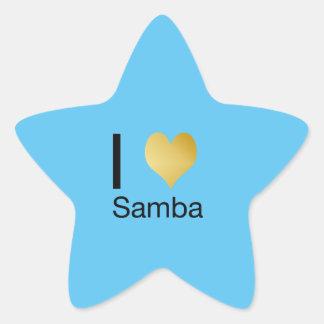 Playfully Elegant I Heart Samba Star Sticker