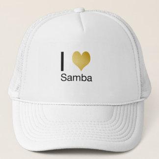 Playfully Elegant I Heart Samba Trucker Hat