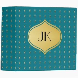 Playfully Preppy Gold Deer Antler Monogram 3 Ring Binders