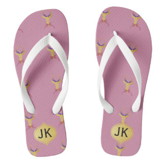Playfully Preppy Gold Deer Antler Monogram Flip Flops