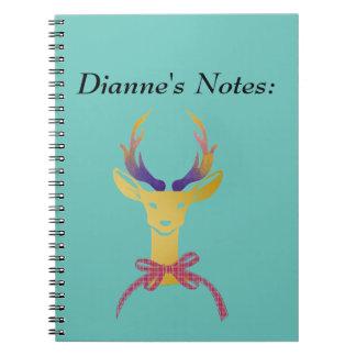 Playfully Preppy Gold Deer Antler Spiral Note Books