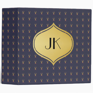 Playfully Preppy Gold Deer with Glasses 3 Ring Binders
