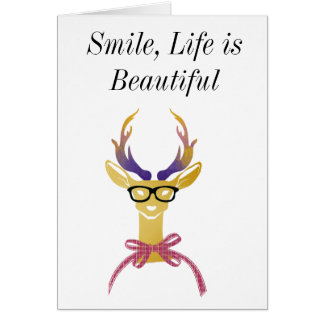 Playfully Preppy Gold Deer with Glasses Card