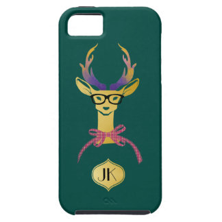 Playfully Preppy Gold Deer with Glasses Case For The iPhone 5