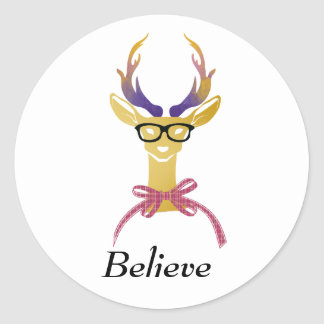 Playfully Preppy Gold Deer with Glasses Classic Round Sticker