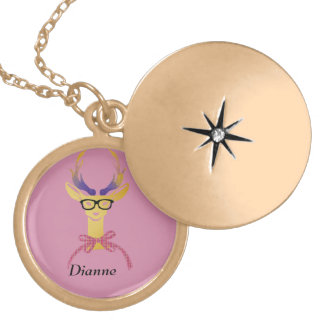 Playfully Preppy Gold Deer with Glasses Gold Plated Necklace