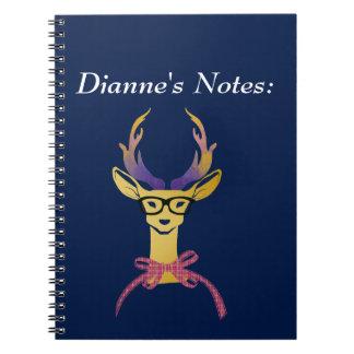 Playfully Preppy Gold Deer with Glasses Spiral Notebook