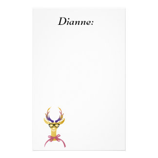 Playfully Preppy Gold Deer with Glasses Stationery