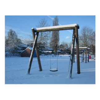 Playground in the snow postcard