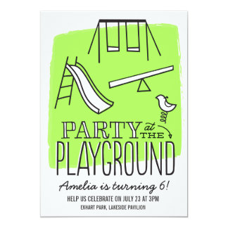 Playground Party Invite - Lime