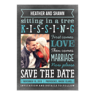 Playground Song Save The Date Card - Turquoise