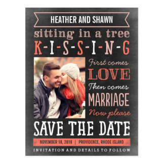 Playground Song Save The Date Postcard - Coral