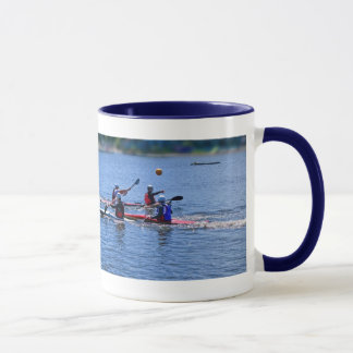 playing a water game, mug