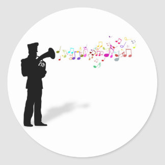 Playing Brass Instrument Classic Round Sticker