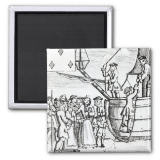 Playing card depicting immigrants arriving magnet