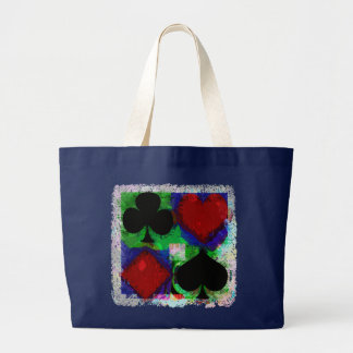 PLAYING CARD SUITS DESIGN LARGE TOTE BAG