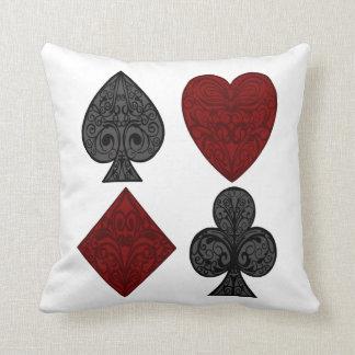 Playing Card Suits Design Throw Pillow