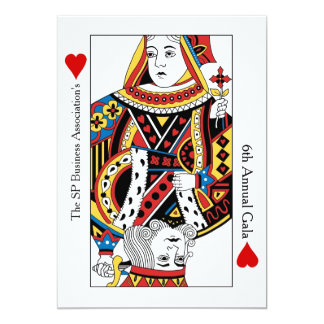 """Playing Cards Annual Gala n Charity Auction 5"""" X 7"""" Invitation Card"""
