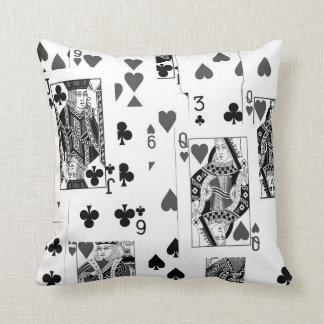 Playing Cards Black and White pillow cushion