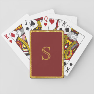 Playing Cards in Burgundy - Monogrammed