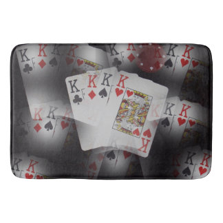 Playing Cards Quad Kings Layered Pattern, Bath Mat