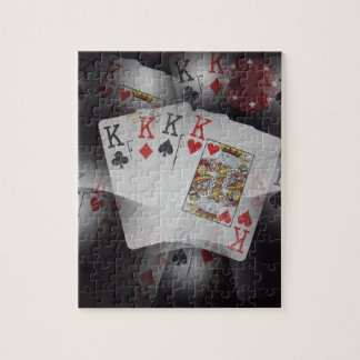 Playing Cards Quad Kings Layered Pattern, Jigsaw Puzzle