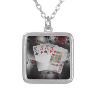 Playing Cards Quad Kings Layered Pattern, Silver Plated Necklace