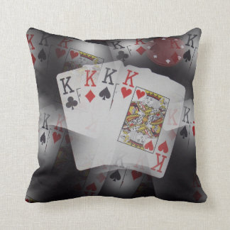Playing Cards Quad Kings Layered Pattern, Throw Pillow