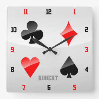 Playing Cards Suits Square Wall Clock