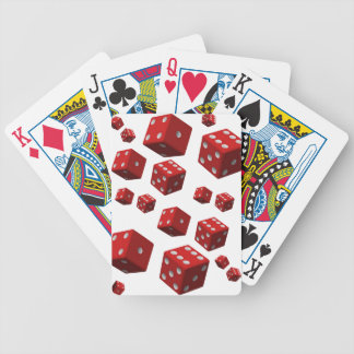 Playing cards white red dice for him
