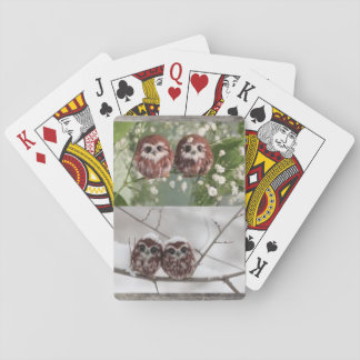 Playing cards with adorable owlets