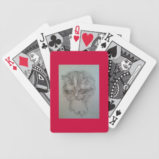 Playing cards with an a kitty