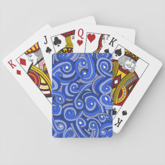 Playing Cards with Blue Doodles