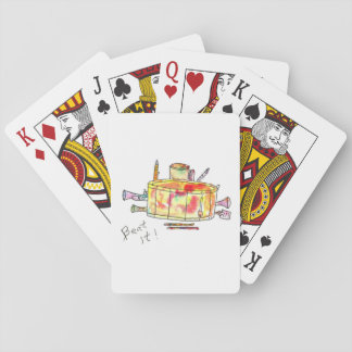 Playing cards with drum