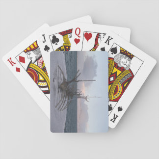 Playing Cards With Longboat Structure Picture.