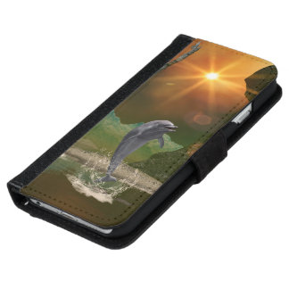 Playing dolphin in the beautiful sunset iPhone 6 wallet case