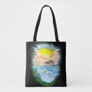 Playing Dolphins in the Sunshine Tote Bag