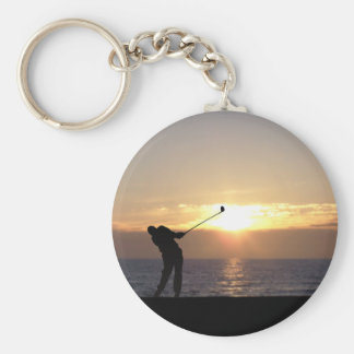 Playing Golf At Sunset Basic Round Button Keychain